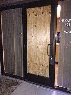 Board Up Storefront Door And Window Broken Emergency Service