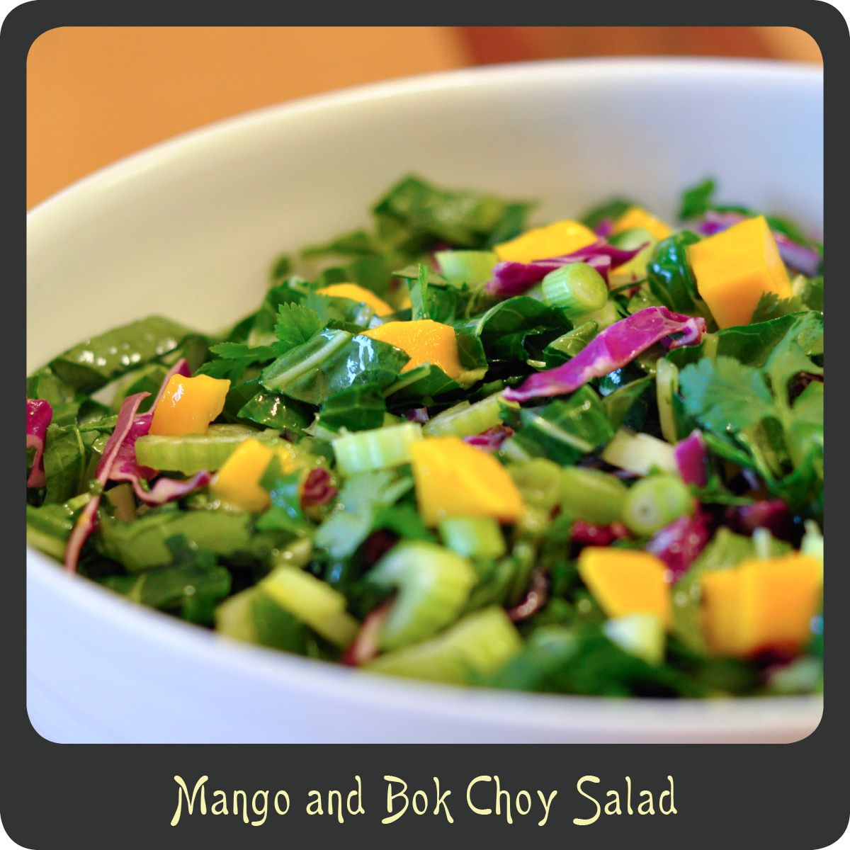 Mango and Bok Choy Salad—Gorgeous colorful salad and super refreshing. Low cal and low carb. Perfect for spring and summer months!