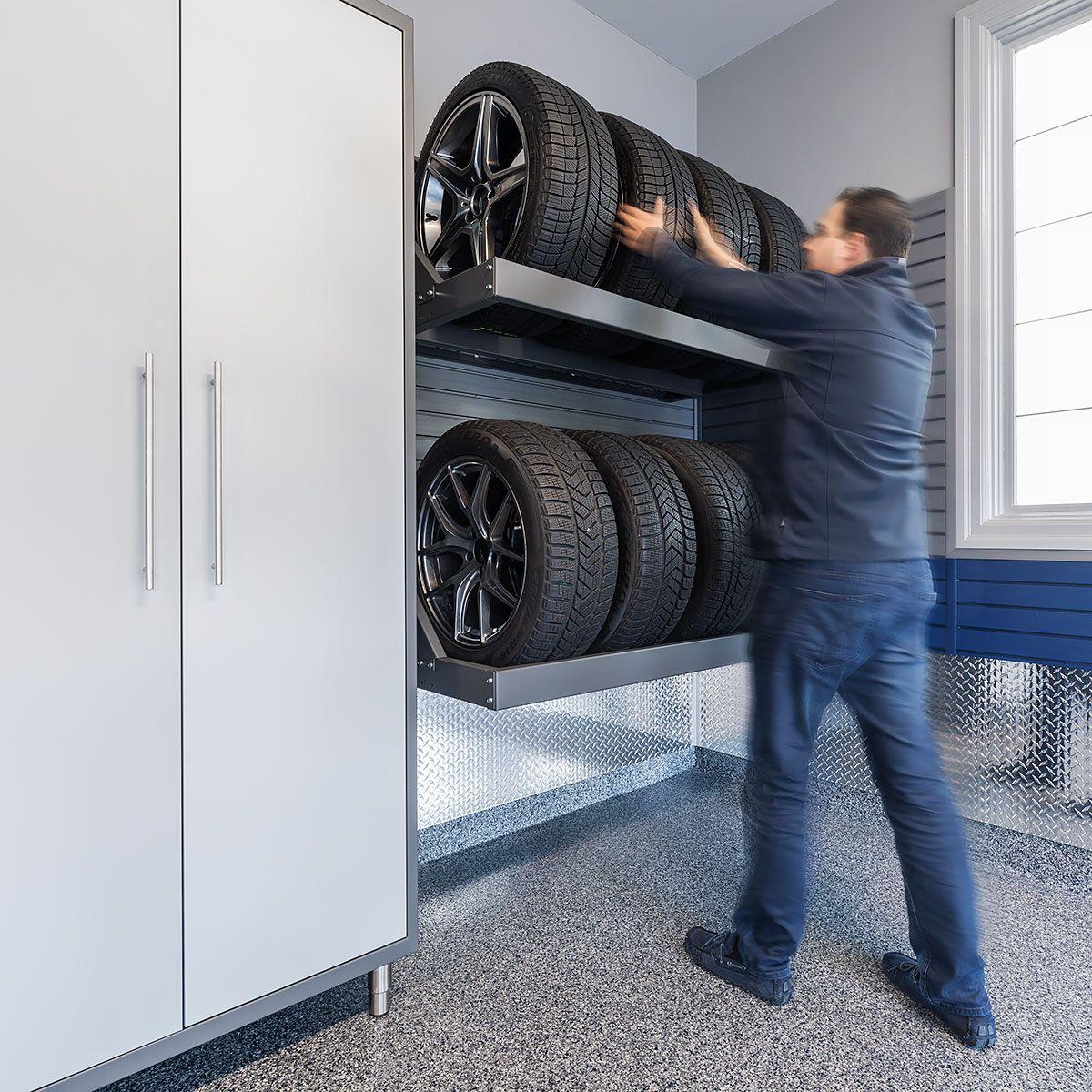 Two Tire Racks Holding 8 Tires Tire Rack Garage Organisation Tire Storage