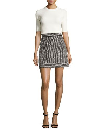 878a44fd95 CARVEN Jersey & Tweed Mini Dress, Multicolor. #carven #cloth ...