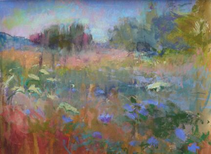 chicory and llace  by Loriann Signori Pastel ~ 11 x 16