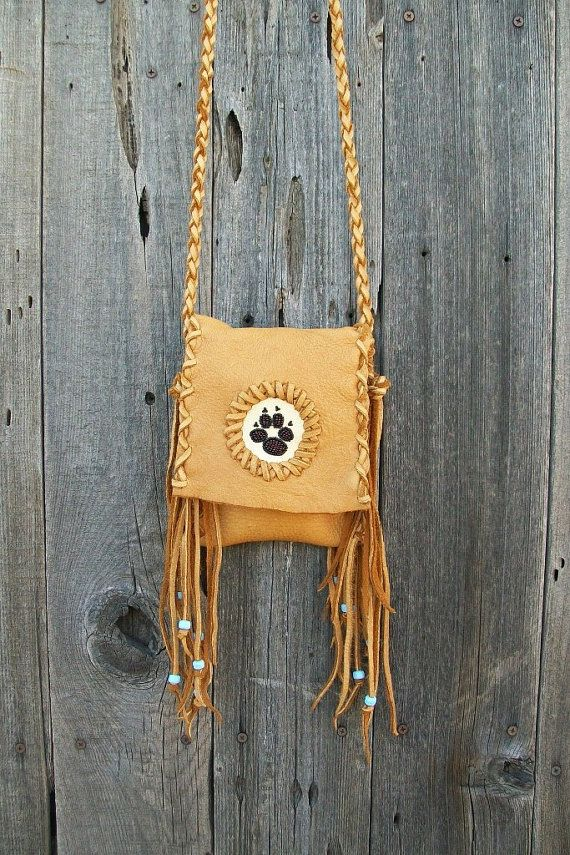 Fringed leather handbag with wolf paw totem Leather by thunderrose, $80.00