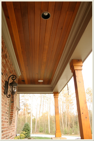 Nice Warm Toned Tongue And Groove For Porch Ceiling Love The Stain Color And Overall Look Of This We W In 2020 House Designs Exterior House Exterior Cedar Paneling