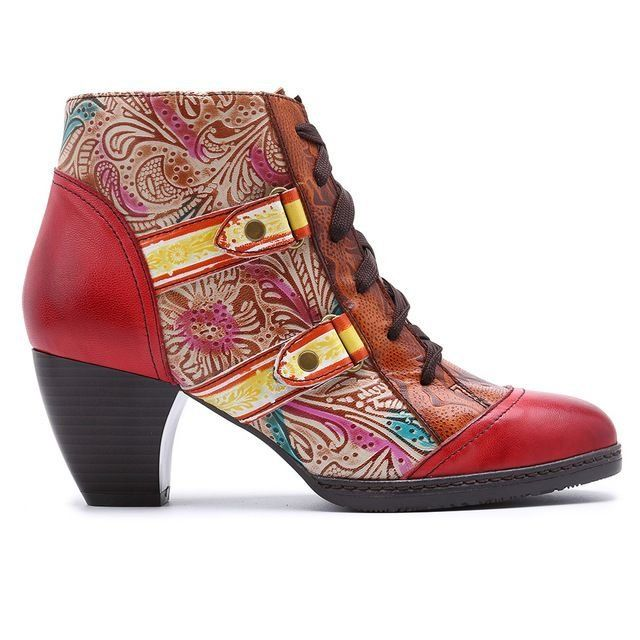 a895317fbc047 Handmade Paisley-embossed Zippered Boho Ankle Boots with Scale ...