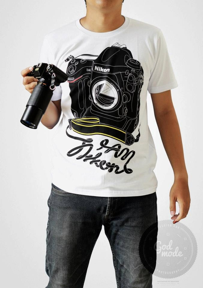 NIKON CAMERA I AM NIKON T SHIRT CAMERA LENS PHOTOGRAPHY COVER BLACK MEN LOGO TEE