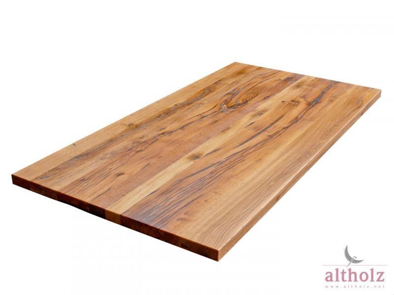 Tischplatte altholz Rüster massiv, Oberfläche geschliffen und geölt, Risse gekittet