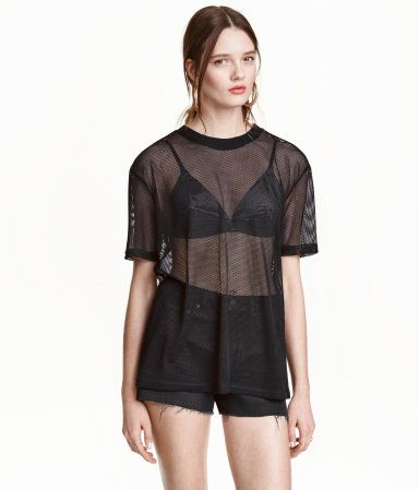 T-Shirt aus Mesh | Schwarz | Ladies | H&M DE