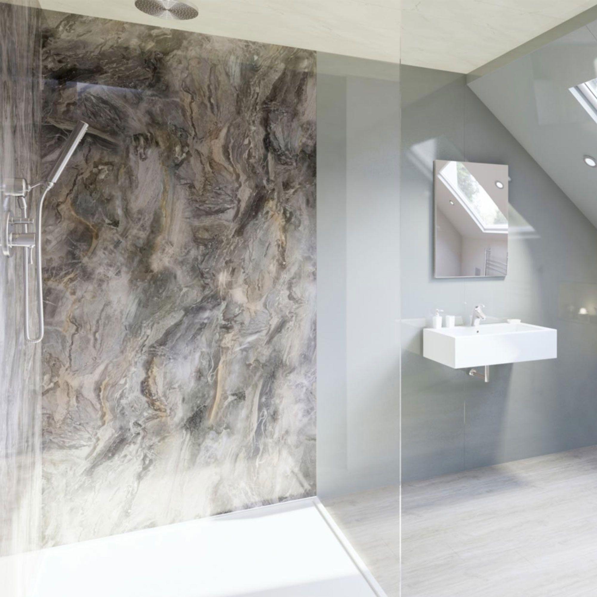 Multipanel Classic Cappuccino Stone Hydro Lock Tongue Groove Bathroom Wall Panel Bathroom Wall Panels Bathroom Shower Walls Alternative To Bathroom Tiles
