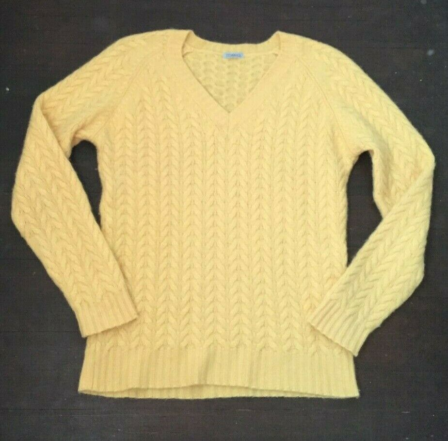 Malo Womens V Neck Cableknit Cashmere Sweater Yellow