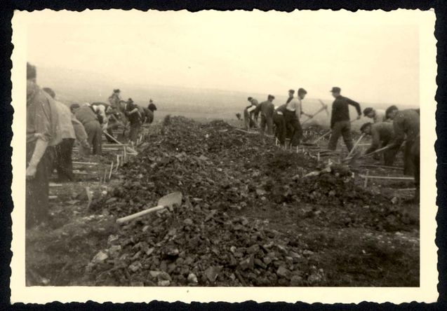 Ohrdruf, Germany, 1945, Civilians from the area being forced to dig graves