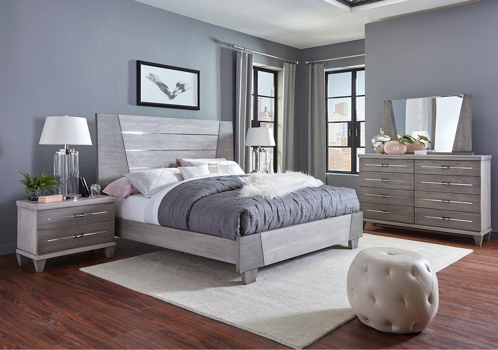 Lacks Matrix 4 Pc Queen Bedroom Set Grey Bedroom With Pop Of Color Bedroom Decor Inspiration Bedroom Sets