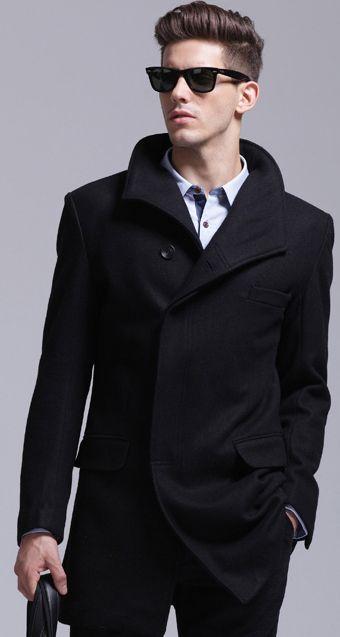 Super-Stylish-Black-Wool-Pea-Coat-1.jpg (340×637) | fashion ...