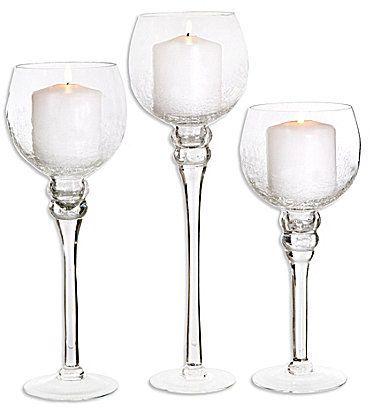 0791e2ce45 Home Essentials Clear Charisma Crackle Glass Hurri… | wedding ideas ...