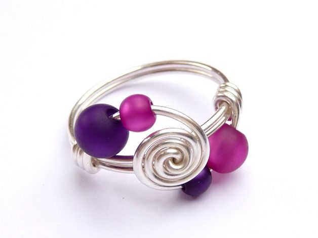 Draht Ring ♥ 4 sisters ♥ Lila & Pink Draht Schmuck | Wire rings ...