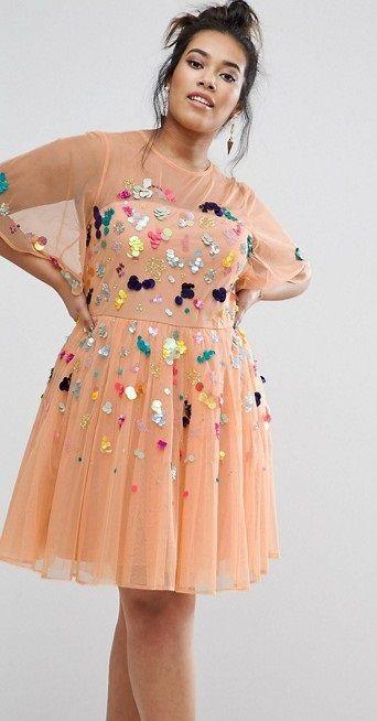 204a98fa1813 Plus Size Scatter Sequin Mini Dress   My styl   Sequin mini dress ...