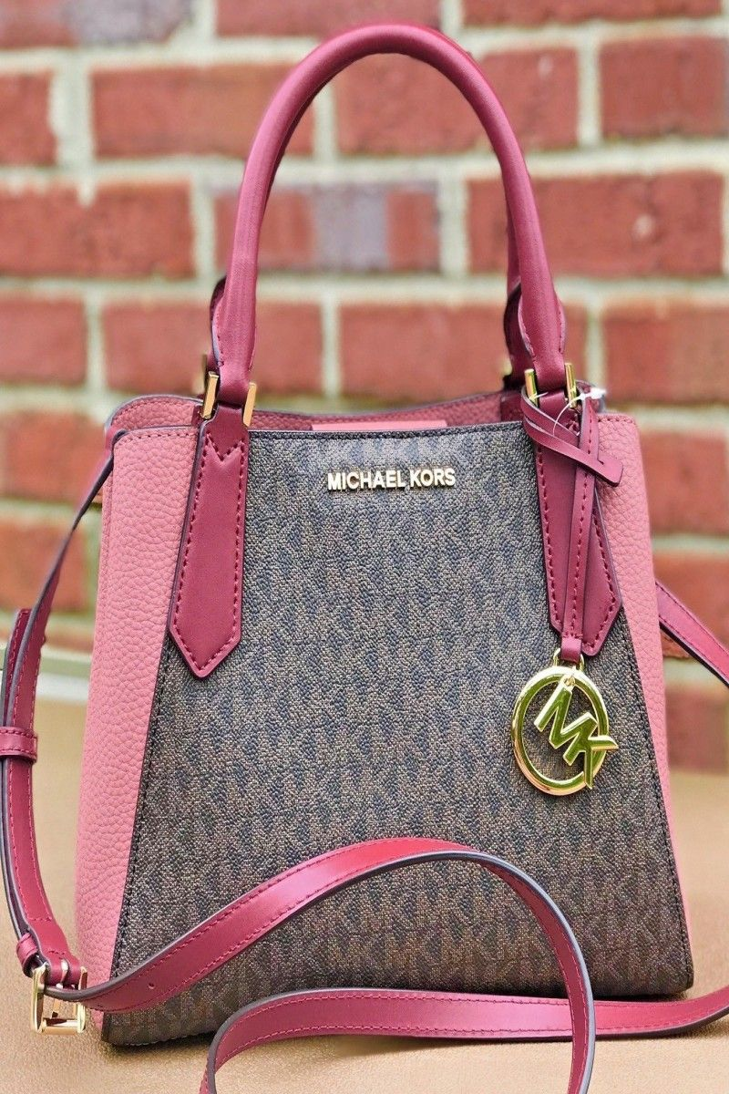196cc7cf824d 129.00 | Michael Kors Kimberly MK Signature Brown Pink SM Satchel Tote Bag  ❤ #michael #kors #kimberly #signature #brown #pink #satchel #tote