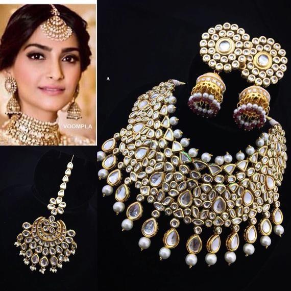 INDIAN KUNDAN NECKLACE Kundan Necklace Set,Indian Jewelry,Bridal Jewelry,Bollywood,Ethnic,Wedding Necklace Jewelry Earrings Tikka Jewelry
