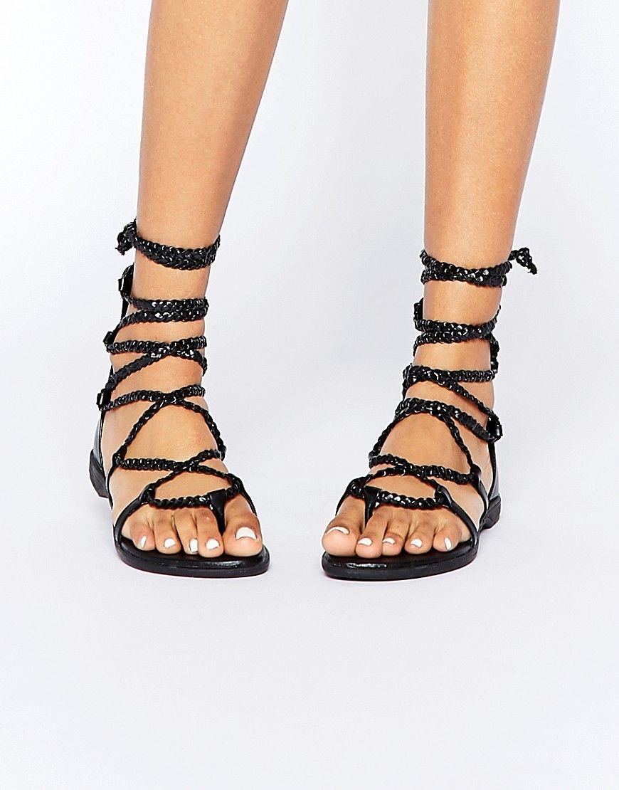 Fringe Tie Up Flat Sandal - Black Truffle fFgdn