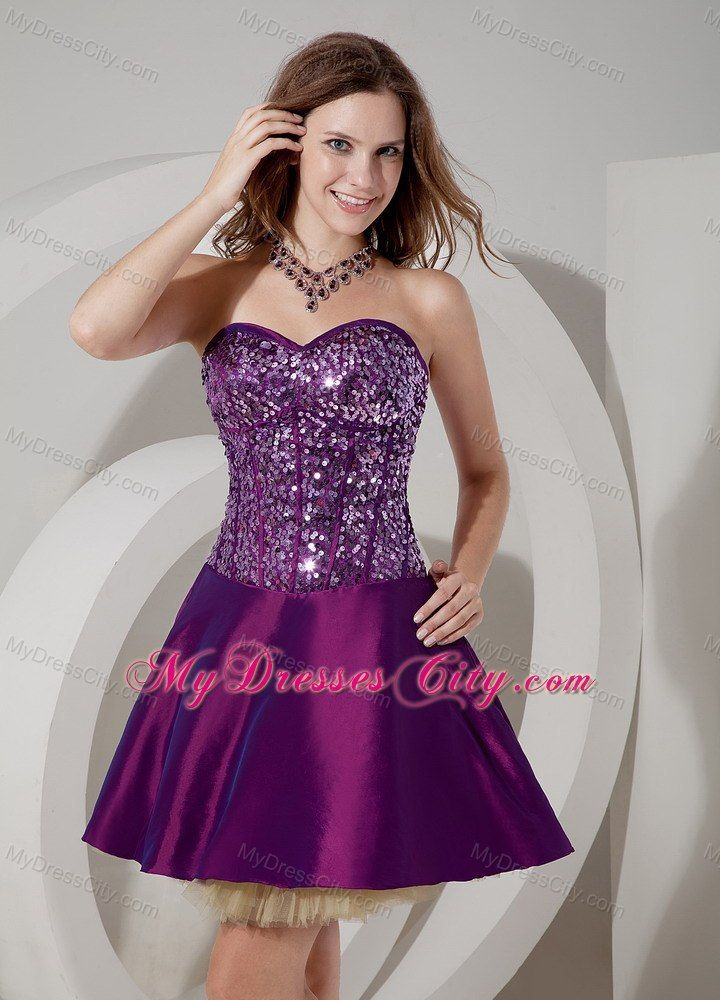 Elegant Purple Cocktail Dress A-line Sweetheart Mini-length ...