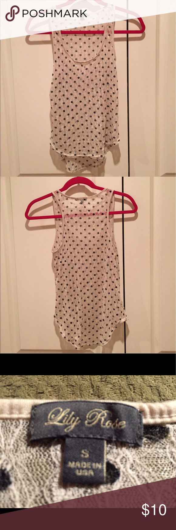 Lily Rose Cream with Black Polka Dots Lace Tank This super cute tank is in very good condition. There are some small signs of wear like a few loose strings. You really have to look for them though. This is a hi/low tank. It's longer in the back than the front. It is all lace so it is very sheer! Lily Rose Tops Tank Tops