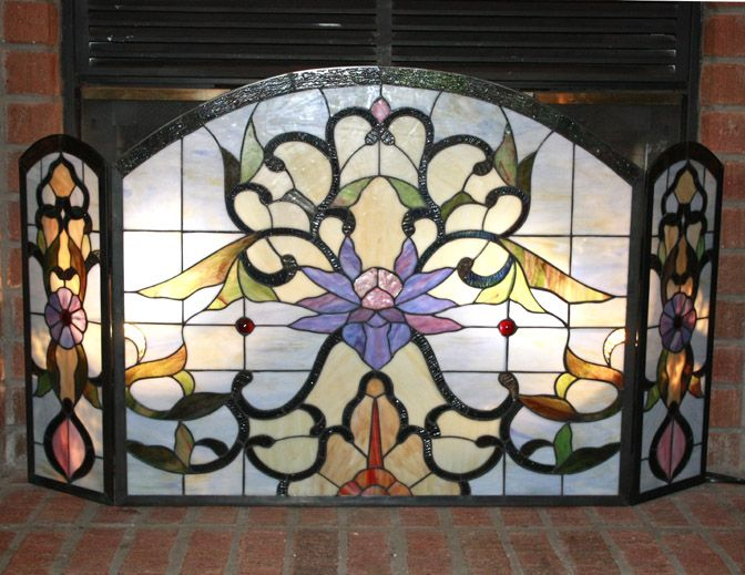 tiffany style stained glass fire place screen floral. Black Bedroom Furniture Sets. Home Design Ideas