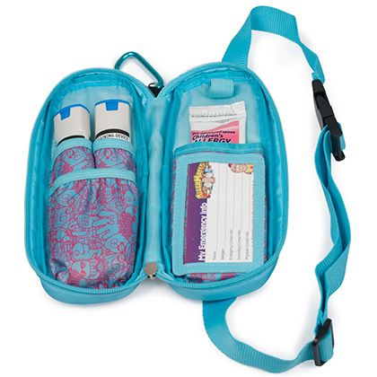Inside View Epipen and Medicine Carrying Case Pink Blue