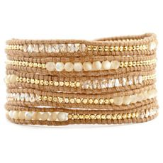Natural Mother of Pearl and Crystal Sectioned Wrap Bracelet- Chan Luu