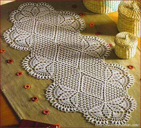 Delicadezas en crochet gabriela camino de mesa en crochet - Camino de mesa elegante en crochet ...