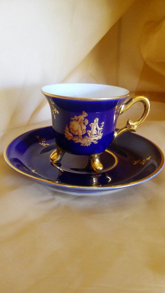 Vintage Limoges France Footed Demitasse Cup And Saucer Cobalt Blue And Gold
