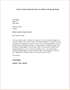 Doctor Referral Letter for a Patient with Special Needs DOWNLOAD ...