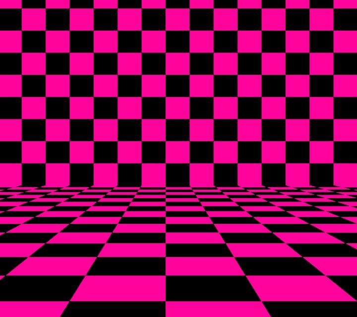 Pink and Black checker board Geometric design art, Black