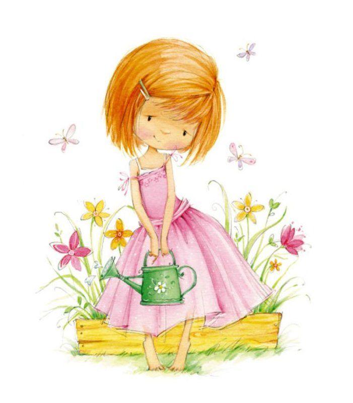 Девочка с цветами картинки рисованные, днем рождения сына