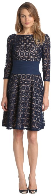 Amazon.com: Adrianna Papell Women's Pintuck Waist Party Dress, Navy, 8: Clothing