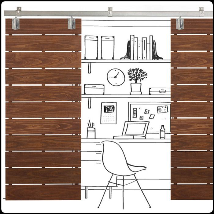 Horizontal Plank Sliding Doors  Stately Screen Create A Statement With Slatted  Doors. Rich Mahogany Stain Brings Out The Natural Wood Grain.