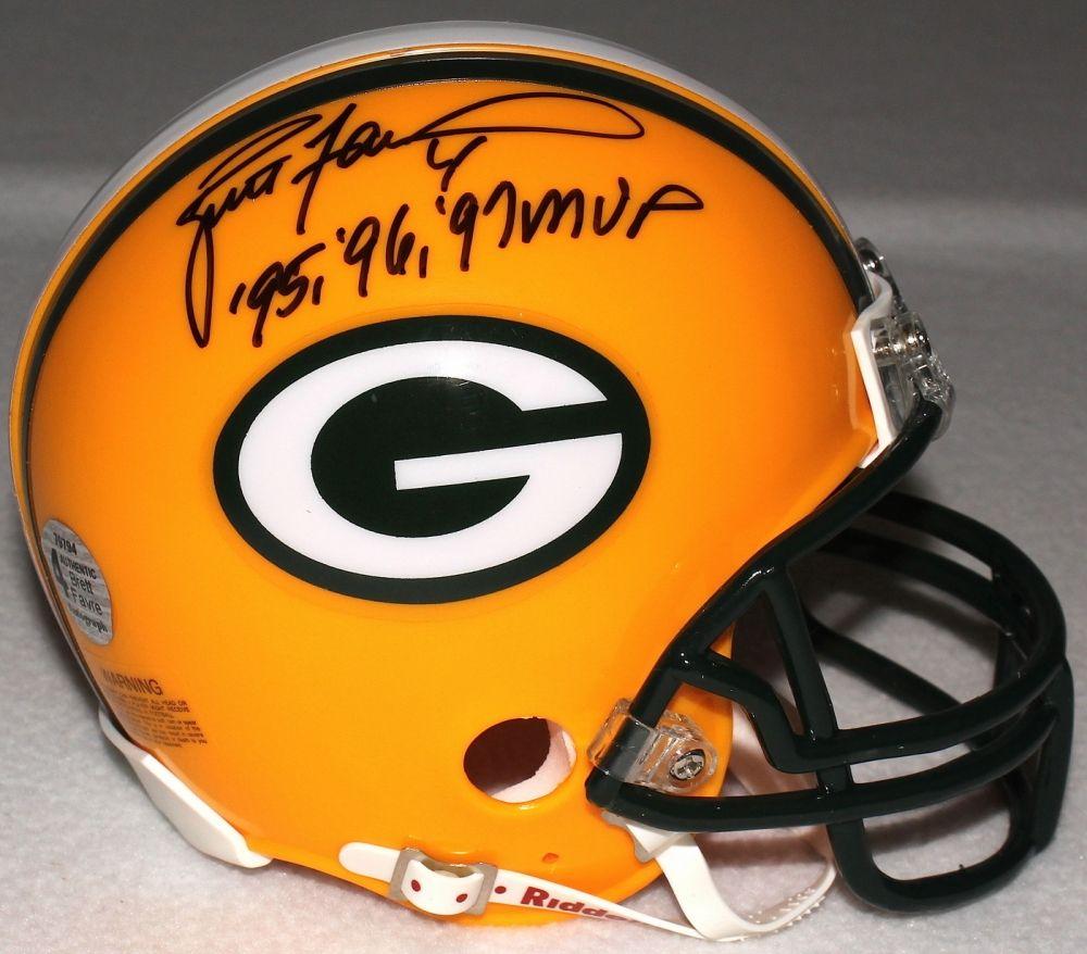 Brett Favre Signed Packers Mini Helmet Inscribed 95 96 97 Mvp Favre Coa Nfl Green Bay Helmet Packers