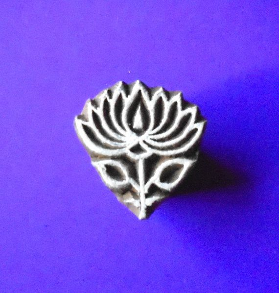 Small Lotus Wood Pottery Stamp Hand Carved Indian Print Block SM26