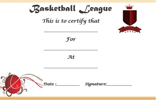 Basketball League Certificate  Basketball Certificate Template