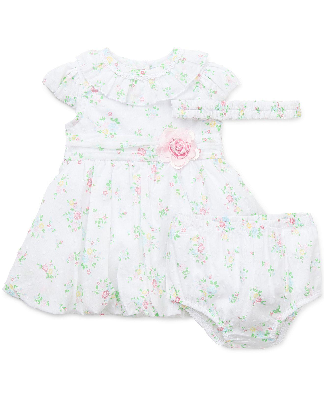 Little Me Baby Girls 3 Piece Joyful Dress Panty & Headband Set