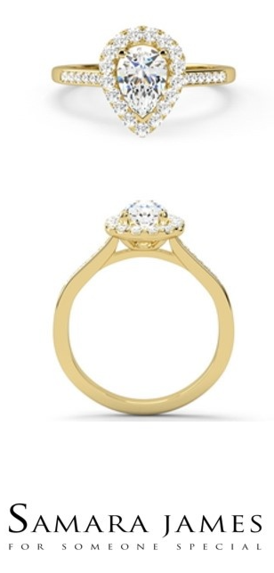 ca42c4fd3 BILLIE - This charming diamond engagement ring is designed to amplify the  beauty of a central pear shaped diamond with an outer cluster of round  brilliant ...