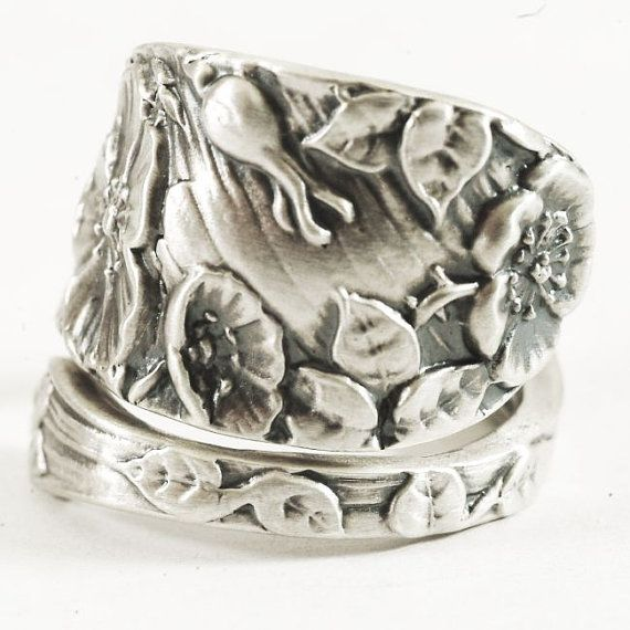 Wild Rose Ring Sterling Silver Spoon Ring Rose Flower Ring Silver Rose Ring Victorian Ro Silver Rose Ring Sterling Silver Spoon Ring Sterling Silver Spoons