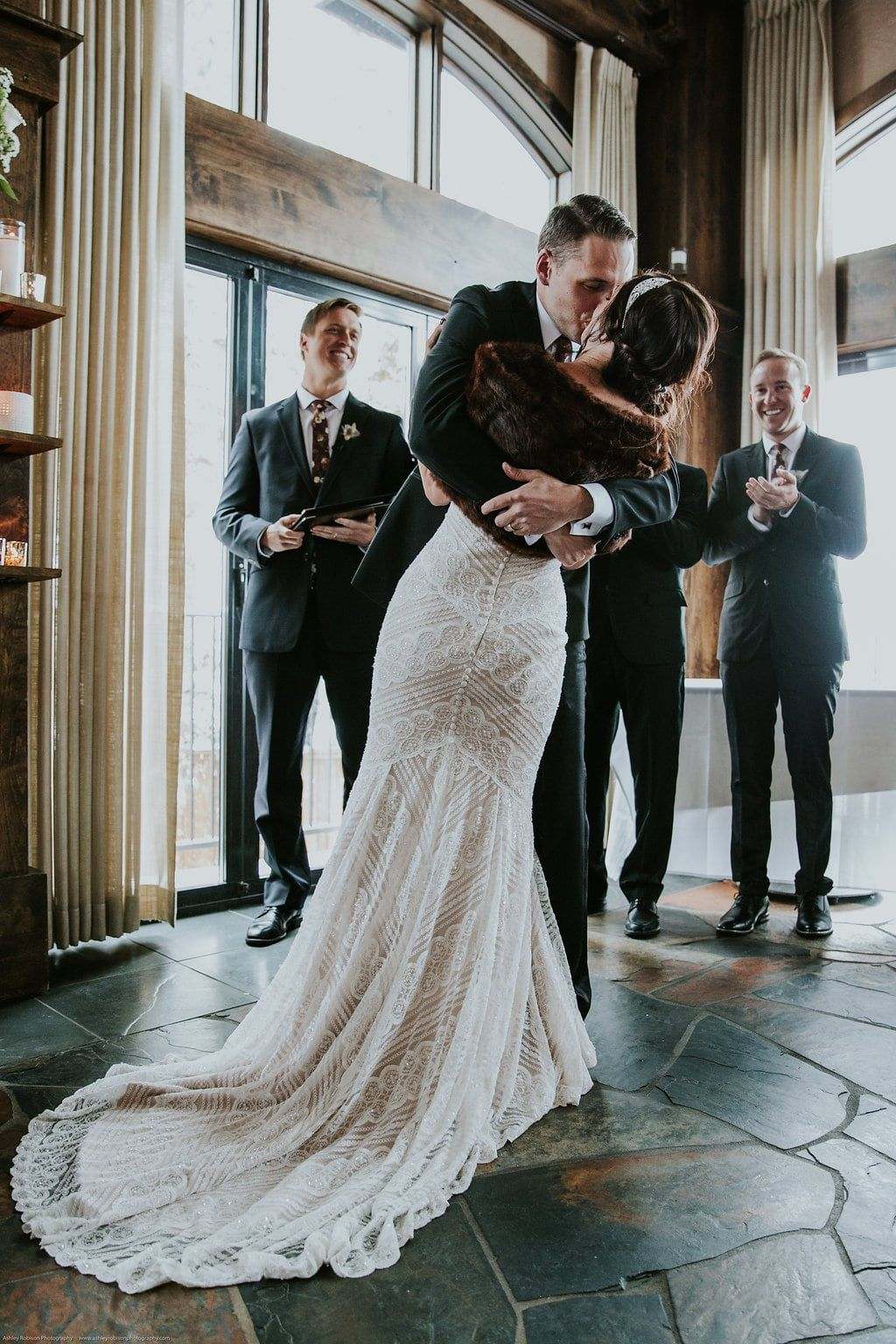 Winter Wedding Wedding Photography Couples Photography Wedding Ceremony Photo Jocelyn Noel Wedding Ceremony Photos Wedding Dresses Lace Winter Wedding
