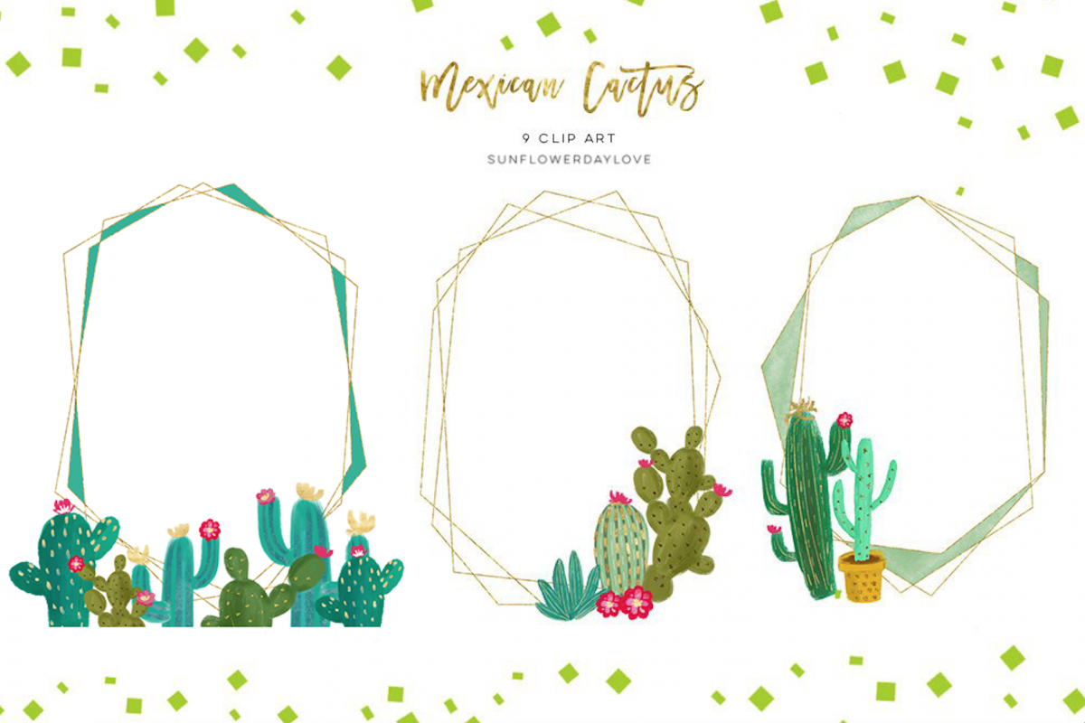 cactus gold geometric frames clipart polygon clipart [ 1200 x 800 Pixel ]