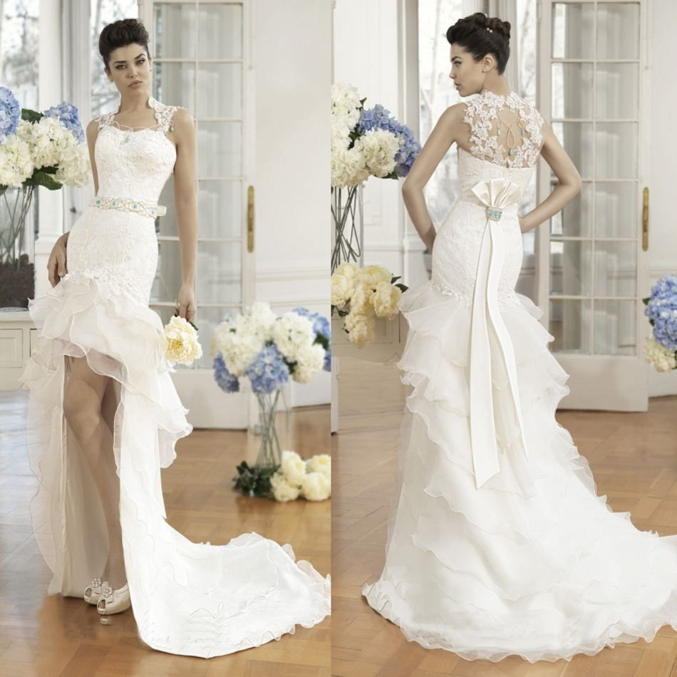 Wedding dress short in front with long train  New Fashion Front short Long Back Court Train Beaded Lace Appliqued