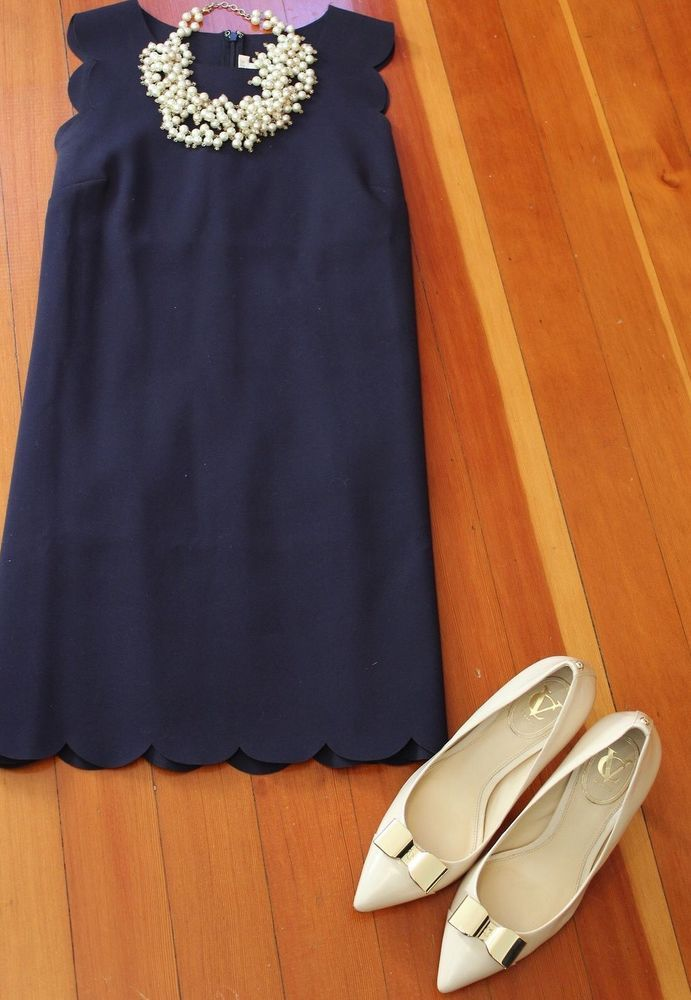 J.Crew Factory Navy Scallop Shift Dress with that twisty pearl necklace.  Oh, this look is so pretty!  Needs an edgy shoe