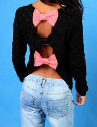 Cute Color Block Back Hollow Out Bowknot Sweater For Women