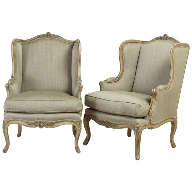 Pair Of Late 19th Century French Cabriole Leg Wing Armchairs With