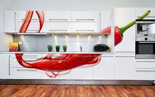 Cool Red Pepper DIY Kitchen Cabinets Wall Mural Picture Ideas, Cool Red  Pepper DIY Kitchen