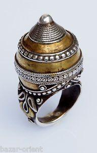 einzigartige orient Turkmenische massiv silber ring teil vergoldet vintage: