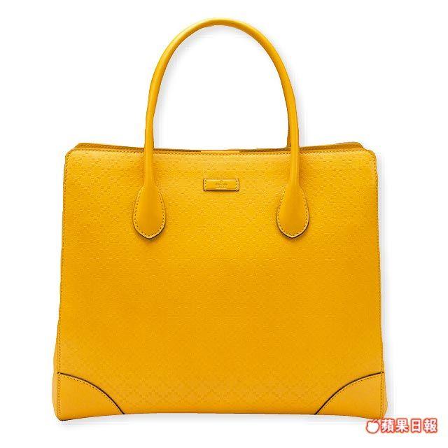 Bright Diamante黃色鑽石菱格紋托特包。 7萬4900元
