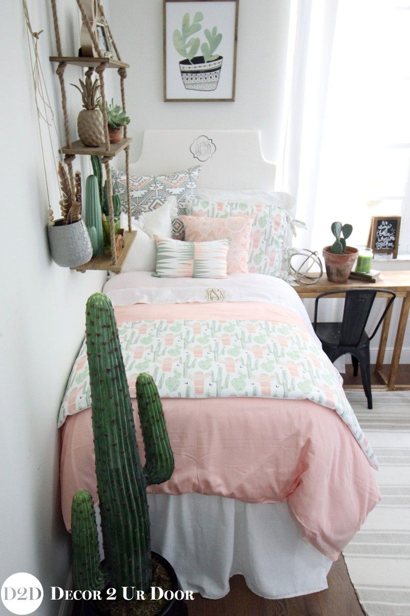 Peach Amp Green Cactus Designer Dorm Bedding Set Dorm Room